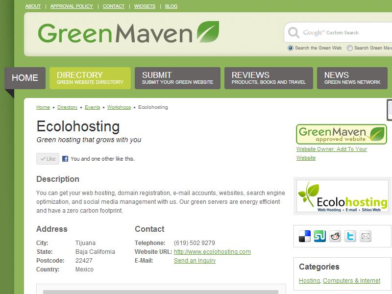 Ecolohosting.com recibe la aprobación Green Maven