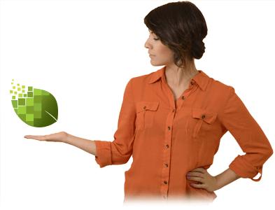 Paulina con el logo de Ecolohosting